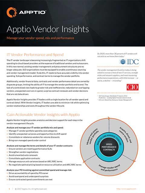 Apptio Vendor Insights